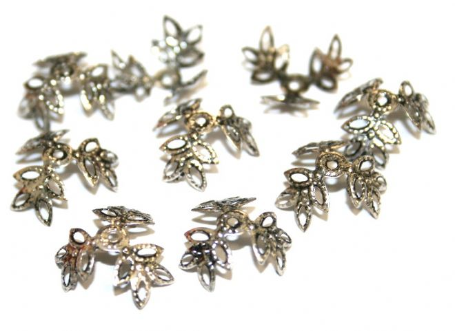 150pcs x 16mm Antique silver plated leaf bead cap - S.F08 - 3004039